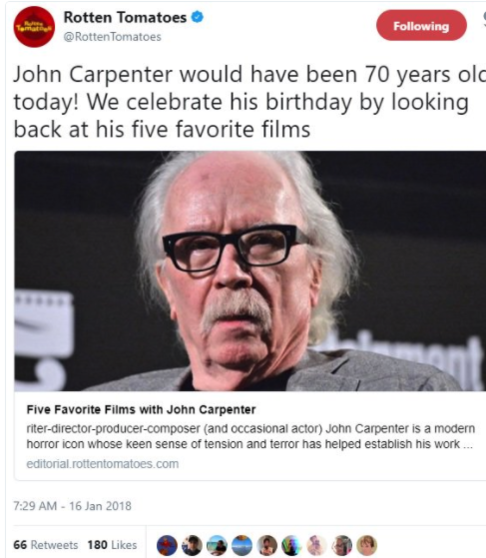 Rotten Tomatoes apologizes after mistakenly tweeting death of horror director John Carpenter