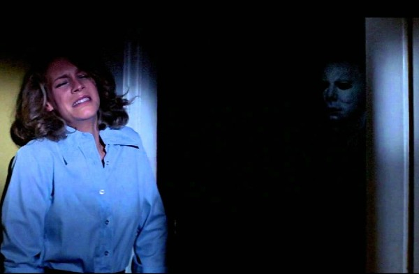 Michael Myers stalks Laurie Strode in Halloween 1978