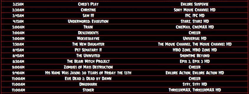 Horror TV Guide 8/30 - 9/2 - Horror News Network - The Horror News